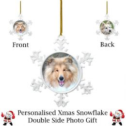 Personalised Christmas Snowflake Double Side (White Chrome)
